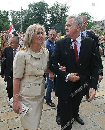 Serbian President-elect Tomislav Nikolic (r) and His Wife Dragica (l) Arrive at Serbia's Parliament in Belgrade Serbia 31 May 2012 Prior to a the Parliament's Inaugural Session Wuring Which New Members of Parliament Will Be Verified the Inaugural Session Will Be Followed by Another Ceremony During Which President-elect Tomislav Nikolic Will Take the Oath of Office Nikolic Unexpectedly Defeated Two-time President Boris Tadic in a Presidential Run-off Vote on 20 May 2012 Serbia and Montenegro Belgrade