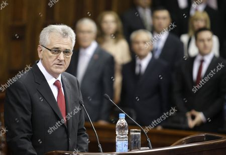 New Serbian President Tomislav Nikolic Delivers a Speech As He is Sworn in at the Serbian Parliament Following an Inaugurational Session in Belgrade Serbia 31 May 2012 Serbia's Former Hardline Nationalist and Anti-western Leader Tomislav Nikolic was Sworn in As the Country's New President on 31 May Nikolic 60 Took the Oath of Office During the First Session of the Parliament That was Elected on 06 May He Unexpectedly Had Defeated Two-time President Boris Tadic in a Presidential Run-off Vote on 20 May 2012 Serbia and Montenegro Belgrade