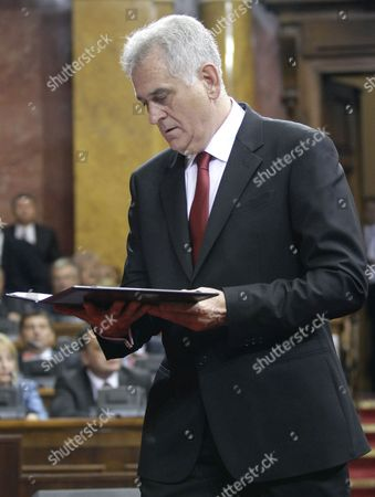 Newly Elected Serbian President Tomislav Nikolic is Sworn in at the Serbian Parliament Following an Inaugurational Session in Belgrade Serbia 31 May 2012 Serbia's Former Hardline Nationalist and Anti-western Leader Tomislav Nikolic was Sworn in As the Country's New President on 31 May Nikolic 60 Took the Oath of Office During the First Session of the Parliament That was Elected on 06 May He Unexpectedly Had Defeated Two-time President Boris Tadic in a Presidential Run-off Vote on 20 May 2012 Serbia and Montenegro Belgrade