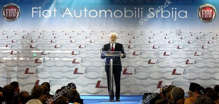 Serbian Prime Minister Mirko Cvetkovic (c) Delivers a Speech After He Along with Sergio Marchionne Ceo of Fiat Group Inaugurated the New Factory in Kragujevac Serbia 16 April 2012 Fiat Has Opened a Production Line in Serbia For Its New 500l Family Model to Expand on the Popularity of Its Two-door 500 City Car Serbia and Montenegro Kragujevac