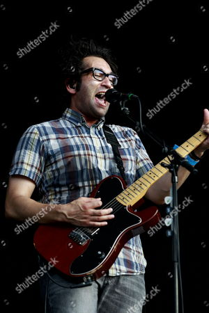 Vocalist and Guitarist Justin Pierre of Us Rock Group Motion City Soundtrack Performs on the Big Top Stage During the 2012 Jisan Valley Rock Festival in Icheon Gyeonggi-do South Korea 28 July 2012 the Festival Runs From 27 to 29 July Korea, Republic of Icheon