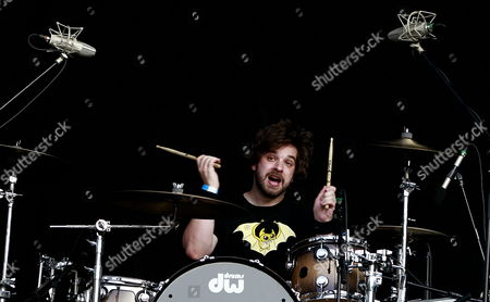 Stock Image of Drumer Tony Thaxton of Us Rock Group Motion City Soundtrack Performs on the Big Top Stage During the 2012 Jisan Valley Rock Festival in Icheon Gyeonggi-do South Korea 28 July 2012 the Festival Runs From 27 to 29 July Korea, Republic of Icheon