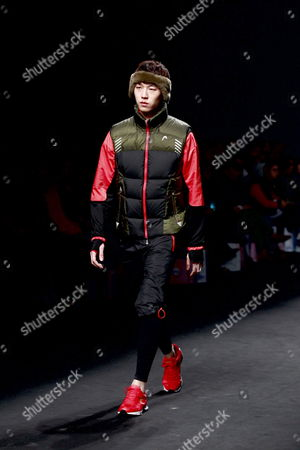 Stock Picture of A Model Wears a Creation Designed by Choi Bum-suk During the 2012-2013 Fall/winter Seoul Fashion Week in Seoul South Korea 03 April 2012 Seoul Fashion Week Takes Place From 02 to 07 April 2012 Korea, Republic of Seoul
