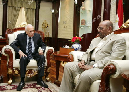 Arab League Secretary General Nabil Alaraby (l) Meets with Sudanese President Omar Al-bashir in Khartoum Sudan 20 May 2012 According to Media Reports on 20 May Alaraby Rejects Any Foreign Intervention in Sudan's Internal Affairs and Has Renewed the Arab League Support For Security and Stability in Sudan Sudan Khartoum