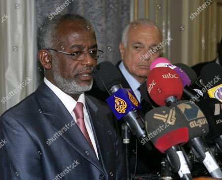Sudanese Foreign Minister Ali Karti (l) Speaks During a Joint Press Conference with Arab League Secretary General Nabil Alaraby (r) in Khartoum Sudan 20 May 2012 According to Media Reports on 20 May Alaraby Reject Any Foreign Intervention in Sudan's Internal Affairs and Had Renewed the Arab League Support For Security and Stability in Sudan Sudan Khartoum