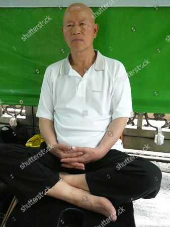 Hsu Hsin-liang a Former Chairman of the Opposittion Democratic Progressive Party Continues His Hunger Strike in Tapei Taiwan on 24 May 2012 to Demand President Ma Ying-jeou Pardon Ex-president Chen Shui-bian who is in Jail For Corruption Maintain the Ban on Us Beef Containing Leanness-enhancing Drug and Stop Hiking Electricity and Fuel Price Hsu Began Fasting Drinking Only Water Outside the Parliament on 20 May 2012 the Day President Ma was Inaugurated For a Second Four-year Term Taiwan Taipei