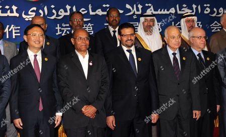 (front L to R) Chinese Foreign Minister Yang Jiechi Tunisian President Moncef Marzouki Tunisian Foreign Minister Rafik Abdessalem Arab League Secreatary General Nabil Alaraby and Algerian Foreign Minister Mourad Medelci Pose For a Group Picture with Officials Attending the Fifth Arab-chinese Forum in Hammamet Eastern Tunis Tunisia 31 May 2012 the Fifth Arab-chinese Forum Opened in Hammamet Under the Theme of Strategic Cooperation and Development the Forum Jointly Organized by the Arab League and the Chinese Government Aims at Boosting Cooperation Between the Two Sides Tunisia Hammamet