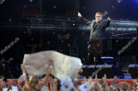 British Singer Elton John Performs at the Uefa Euro 2012 Fan Zone During a Grand Charity Concert Dedicated to the Fight Against Hiv/aids in Kiev Ukraine 30 June 2012 Ukrainian Elena Pinchuk Antiaids Foundation As Well As Colleagues in Fighting Aids Legendary Stars Elton John and Queen with Adam Lambert Organized a Charity Concert in Kiev to Say: 'Your Life is not a Game! Let's Stop Aids Together' Ukraine Kiev