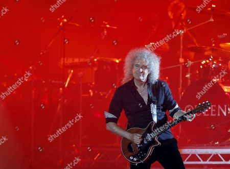 British Guitarist Brian May of British Rock Band Queen Perform at the Uefa Euro 2012 Fan Zone During a Grand Charity Concert Dedicated to the Fight Against Hiv/aids in Kiev Ukraine 30 June 2012 Ukrainian Elena Pinchuk Antiaids Foundation As Well As Colleagues in Fighting Aids Legendary Stars Elton John and Queen with Adam Lambert Organized a Charity Concert in Kiev to Say: 'Your Life is not a Game! Let's Stop Aids Together' Ukraine Kiev