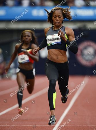 Sanya Richards-ross Crosses the Finish in the Women's 200 Meter Heat at the 2012 Olympic Trials in Eugene Oregon Usa 28 June 2012 United States Eugene