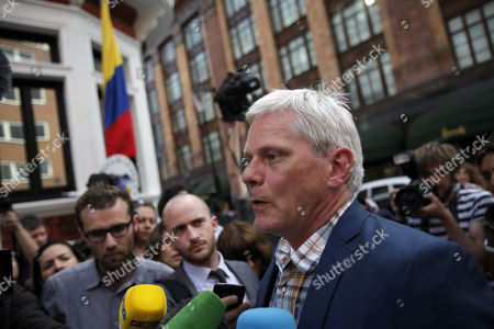 Stock Picture of Wikileaks Spokesperson Kristinn Hransfsonn Speaks to Reporters Outside Ecuador's Embassy where Wikileaks Founder Has Sought Political Asylum in London Britain 20 June 2012 the Legal Battle Against Extradition by Julian Assange Took a Further Twist As the Wikileaks Founder Sought Refuge in the Ecuadorean Embassy in London While Being Threatened with Arrest by Police Assange 40 Faces Extradition to Sweden on Allegations of Sexual Assault After Britain's Supreme Court Rejected His Final Appeal Last Week a 10-day Period of Extradition Begins on June 28 His Arrival at the Embassy was Confirmed Late Tuesday by Ricardo Patino Ecuador's Foreign Minister in Quito He Said Assange an Australian Citizen Had Requested Political Asylum United Kingdom London