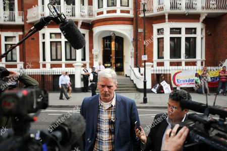 Stock Photo of Wikileaks Spokesperson Kristinn Hransfsonn Speaks to Reporters Outside Ecuador's Embassy where Wikileaks Founder Has Sought Political Asylum in London Britain 20 June 2012 the Legal Battle Against Extradition by Julian Assange Took a Further Twist As the Wikileaks Founder Sought Refuge in the Ecuadorean Embassy in London While Being Threatened with Arrest by Police Assange 40 Faces Extradition to Sweden on Allegations of Sexual Assault After Britain's Supreme Court Rejected His Final Appeal Last Week a 10-day Period of Extradition Begins on June 28 His Arrival at the Embassy was Confirmed Late Tuesday by Ricardo Patino Ecuador's Foreign Minister in Quito He Said Assange an Australian Citizen Had Requested Political Asylum Epa/karel Prinsloo United Kingdom London