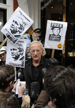 Broadcaster and Journalist John Pilger (c) Speaks to Reporters Outside the Embassy of Ecuador where Wikileaks Founder Has Sought Political Asylum in London Britain 22 June 2012 Julian Assange Remains Inside the Ecuadorean Embassy After Three Nights Assange 40 Faces Extradition to Sweden on Allegations of Sexual Assault After Britain's Supreme Court Rejected His Final Appeal Last Week a 10-day Period of Extradition Begins on June 28 His Arrival at the Embassy was Confirmed 19 June by Ricardo Patino Ecuador's Foreign Minister in Quito He Said Assange an Australian Citizen Had Requested Political Asylum United Kingdom London