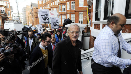 Broadcaster and Journalist John Pilger (2-r) Arrives to the Ecuador Embassy where Wikileaks Founder Has Sought Political Asylum in London Britain 22 June 2012 Julian Assange Remains Inside the Ecuadorean Embassy After Three Nights Assange 40 Faces Extradition to Sweden on Allegations of Sexual Assault After Britain's Supreme Court Rejected His Final Appeal Last Week a 10-day Period of Extradition Begins on June 28 His Arrival at the Embassy was Confirmed 19 June by Ricardo Patino Ecuador's Foreign Minister in Quito He Said Assange an Australian Citizen Had Requested Political Asylum United Kingdom London