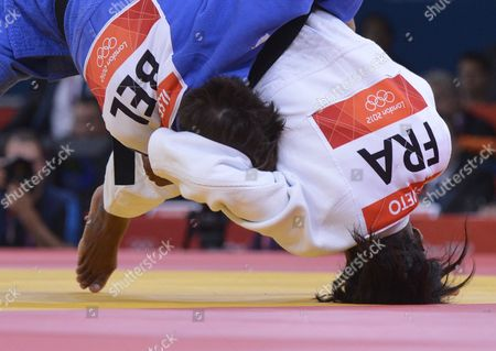 Priscilla Gneto of France (white) Fights Against Ilse Heylen of Belgium During Women's -52kg Judo Bronze Medal Fight During the London 2012 Olympic Games at the Excel Arena in London Britain 29 July 2012 United Kingdom London