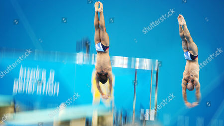 Thomas Daley and Peter Waterfield of Great Britain Compete En Route to a Fourth Place Finish in the Men's Synchronized 10m Platform Diving Event at the Aquatics Center During the London 2012 Olympic Games Swimming Competition London Britain 30 July 2012 United Kingdom London