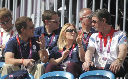 Peter Philips (l) Son of Princess Anne with His Wife Autumn (c) and Tim Lawrence (r) in the Stands in Greenwich Park Equestrian Stadium For the London 2012 Olympic Games Equestrian Eventing Competition in Greenwich Park Southeast London Britain 29 July 2012 United Kingdom London