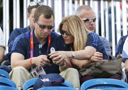 Peter Philips Son of Princess Anne with His Wife Autumn in the Stands in Greenwich Park Equestrian Stadium For the London 2012 Olympic Games Equestrian Eventing Competition in Greenwich Park Southeast London Britain 29 July 2012 United Kingdom London
