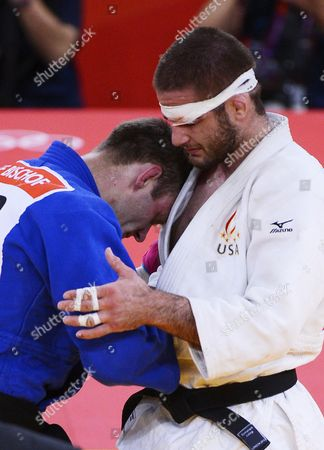 German's Ole Bischof (blue) Competes Against Travis Stevens of the Us in the Semifinal of the -81 Kg Category in the London 2012 Olympic Games Judo Competition London Britain 31 July 2012 United Kingdom London
