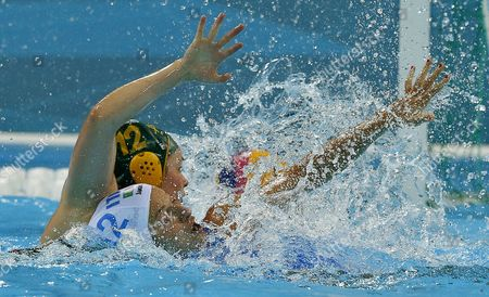 Nicola Zagame (l) of Australia Vies with Teresa Frassinetti of Italy During the Preliminary Round Match in the London 2012 Olympic Games Waterpolo Women Competition London Britain 30 July 2012 United Kingdom London