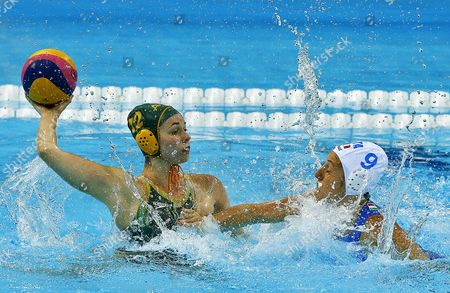 Nicola Zagame (l) of Australia Vies with Giulia Enrica Emmolo (r) of Italy During the Preliminary Round Match in the London 2012 Olympic Games Waterpolo Women Competition London Britain 30 July 2012 United Kingdom London
