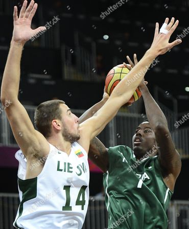 Lithuania's Jonas Valanciunas (l) Tries to Block a Shot by Nigeria's Al-farouq Aminu in the First Half of Their Basketball Game at the London 2012 Olympic Games in London Great Britain 31 July 2012 United Kingdom London