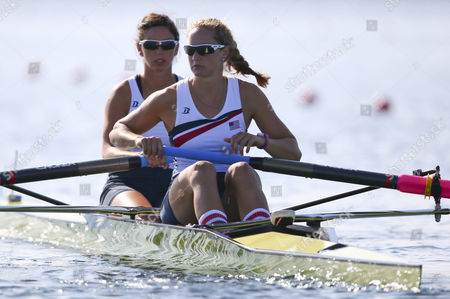 Stock Image of Sara Hendershot (r) and Sara Zelenka (l) of the Usa Prepare at the Start of the Women's Pair Heat During the London 2012 Olympic Games Rowing Competition at the Eton Dorney Rowing Centre Near the Village of Dorney West of London Britain 28 July 2012 United Kingdom Dorney