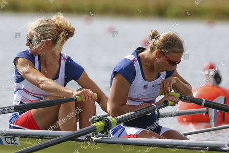 Jitka Antosova (r) and Lenka Antosova (l) of Czech Republic at the Start of Women's Double Sculls Heat During the London 2012 Olympic Games Rowing Competition at the Eton Dorney Rowing Centre Near the Village of Dorney West of London Britain 30 July 2012 United Kingdom Dorney