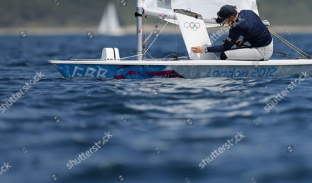 British Laser Sailor and Gold Medalist in the Men's Laser Class at the 2008 Summer Olympics Paul Goodison During a Training Session at Weymouth Britain 25 July 2012 Weymouth Will Be Host to Sailing Competition For the 2012 Olympic Games Which Will Take Place From 27 July to 12 August 2012 United Kingdom Weymouth