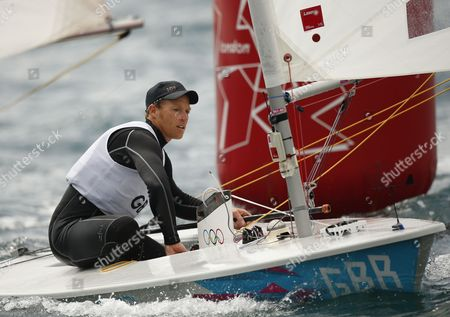 Paul Goodison of Great Britain Competes in the Men's Laser Class Race During the London 2012 Olympic Games Sailing Competition in Weymouth Britain 01 August 2012 Weymouth is Hosting the Sailing Competition For the 2012 Olympic Games From 27 July to 12 August 2012 United Kingdom Weymouth
