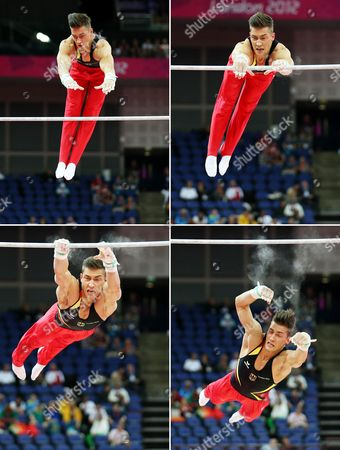 Picture Combo of Germany's Philipp Boy Slipping Off the Bar As He Competes in the Qualification Round on the Horizontal Bar During the London 2012 Olympic Games Artistic Gymnastics Competition London Britain 28 July 2012 United Kingdom London