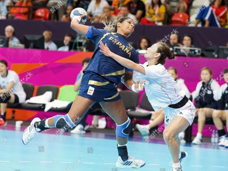 Marta Mangue Gonzalez (l) of Spain in Action Against Sun Hee Woo (r) of Korea During the Group Handball Match at the London 2012 Olympics Games in London Britain 28 July 2012 United Kingdom London