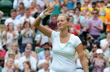 Petra Kvitova of the Czech Republic Celebrates Her Victory Over Akgul Amanmuradova of Uzbekistan in Their First Round Match For the Wimbledon Championships at the All England Lawn Tennis Club in London Britain 26 June 2012 United Kingdom Wimbledon