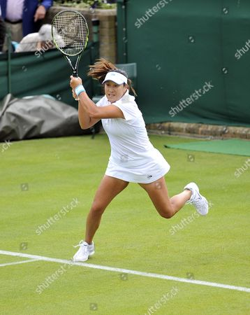 Tamarine Tanasugarn of Thailand Returns to Anna Tatishvili of Georgia During Their First Round Match For the Wimbledon Championships at the All England Lawn Tennis Club in London Britain 25 June 2012 United Kingdom Wimbledon