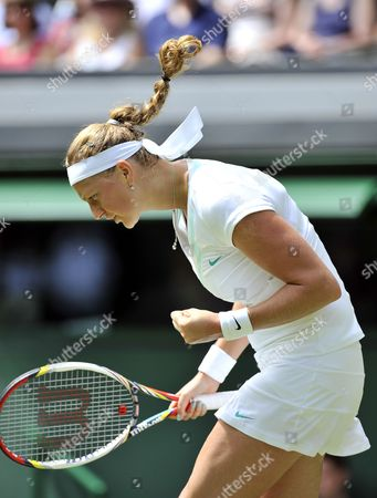 Petra Kvitova of the Czech Republic Celebrates a Winner Against Akgul Amanmuradova of Uzbekistan During Their First Round Match For the Wimbledon Championships at the All England Lawn Tennis Club in London Britain 26 June 2012 United Kingdom Wimbledon