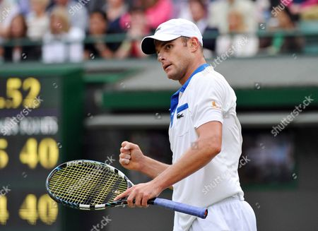 Andy Roddick of the Us Celebrates His Win Over Jamie Baker of Britain in Their First Round Match For the Wimbledon Championships at the All England Lawn Tennis Club in London Britain 27 June 2012 United Kingdom Wimbledon