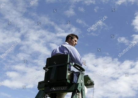 Stock Photo of A Chair Umpire During First Round Match of Stephanie Dubois of Canada Against Jie Zheng of China For the Wimbledon Championships at the All England Lawn Tennis Club in London Britain 26 June 2012 United Kingdom Wimbledon