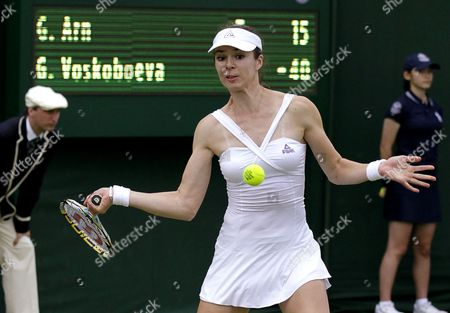 Galina Voskoboeva of Kazakhstan Returns to Greta Arn of Hungary During Their First Round Match For the Wimbledon Championships at the All England Lawn Tennis Club in London Britain 26 June 2012 United Kingdom Wimbledon