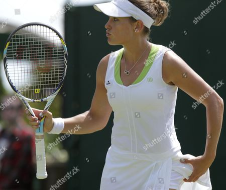 Stephanie Dubois of Canada During Her First Round Match Against Jie Zheng of China For the Wimbledon Championships at the All England Lawn Tennis Club in London Britain 26 June 2012 United Kingdom Wimbledon