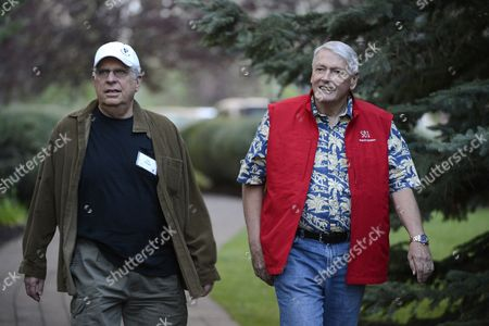 Jonathan Dolgen Principal of Wood River Ventures Llc (l) and John C Malone Chairman of Liberty Media and Ceo of Discovery Holding Company Arrive For Day One of the Allen & Company's 30th Annual Media and Technology Conference in Sun Valley Idaho Usa 11 July 2012 the Event Brings Together the Leaders of the Worlds of Media Technology Sports Industry and Politics United States Sun Valley