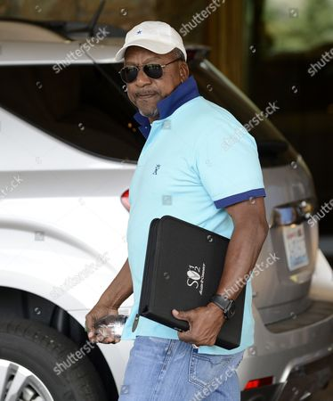 Stock Image of Robert L Johnson Chairman and Founder of Rlj Development Arrives For Day One of the Allen & Company's 30th Annual Media and Technology Conference in Sun Valley Idaho Usa 10 July 2012 United States Sun Valley