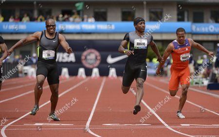 Stock Photo of Michael Rodgers (c) Crosses the Finish Ahead of Walter Dix (l) and Justin Murdock (r) at the 2012 Olympic Trials in Eugene Oregon Usa 24 June 2012 United States Eugene