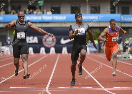 Stock Image of Michael Rodgers (c) Crosses the Finish Ahead of Walter Dix (l) and Justin Murdock (r) at the 2012 Olympic Trials in Eugene Oregon Usa 24 June 2012 United States Eugene