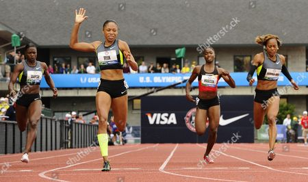 Allyson Felix (2-l) Crosses the Finish to Win the Women's 200 Meter Final Ahead of Jeneba Tarmoh (l-r) Tianna Madison and Sanya Richards-ross at the 2012 Olympic Trials in Eugene Oregon Usa 30 June 2012 United States Eugene