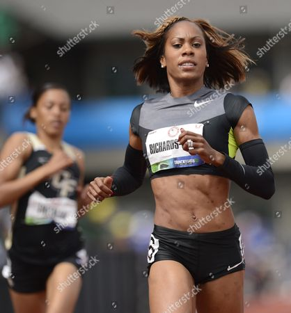 Sanya Richards-ross Crosses the Finish in the Women's 200 Meter Semi-final at the 2012 Olympic Trials in Eugene Oregon Usa 29 June 2012 United States Eugene