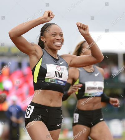 Allyson Felix (l) Reacts After Crossing the Finish to Win the Women's 200 Meter Final Ahead of Sanya Richards-ross (r) at the 2012 Olympic Trials in Eugene Oregon Usa 30 June 2012 United States Eugene