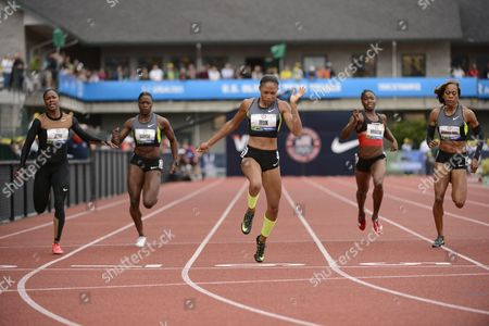 Allyson Felix (c) Crosses the Finish to Win the Women's 200 Meter Final Ahead of Carmelita Jeter (l-r) Jeneba Tarmoh Tianna Madison and Sanya Richards-ross at the 2012 Olympic Trials in Eugene Oregon Usa 30 June 2012 United States Eugene