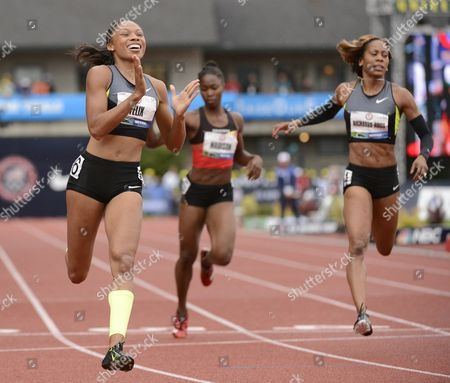 Allyson Felix (l) Reacts After Crossing the Finish to Win the Women's 200 Meter Final Ahead of Tianna Madison (c) and Sanya Richards-ross (r) at the 2012 Olympic Trials in Eugene Oregon Usa 30 June 2012 United States Eugene