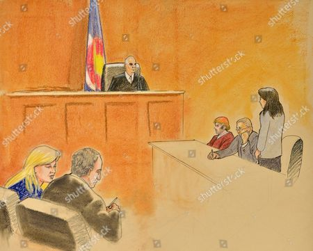 Courtroom Sketch by Jeff Kandyba Showing Arapahoe District Court Judge William Sylvester (c) Presides Over the Arraignment of Shooting Suspect James E Homes (3rd R) at the Arapahoe District Courthouse in Centennial Colorado Usa 30 July 2012 Holmes is Charged with 24 Counts of Murder and 116 Counts of Attempted Murder For the Century 16 Theater Shootings in Aurora Colorado Early 20 July Twelve Persons Were Killed on Site and More Than 50 Injured Making the Shooting the Worst Since the Virginia Tech Shootings in 2007 Courtroom Sketch by Jeff Kandyba United States Denver