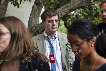 Neil Munro of the News Website the Daily Caller who Repeatedly Interrupted President Barack Obama As the President was Attempting to Announce That the U S Will Stop Deporting Some Undocumented Immigrants who Came to the Country As Children Watches Other Journalists Leave the Event in the Rose Garden of the White House in Washington Dc Usa 15 June 2012 United States Washington